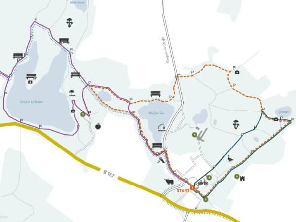 Weitere Freizeitangebote auf einer Karte mit skizzierten Lauf- und Wanderstrecken rund um Liebenberg